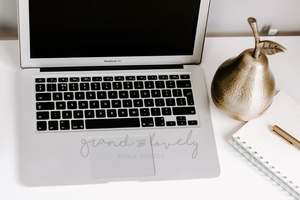 Free Styled Stock Photo | Computer/Laptop/Screen macbook flatlay - Grand & Lovely Stock styled photography desktops lifestyle screens desktops stationary