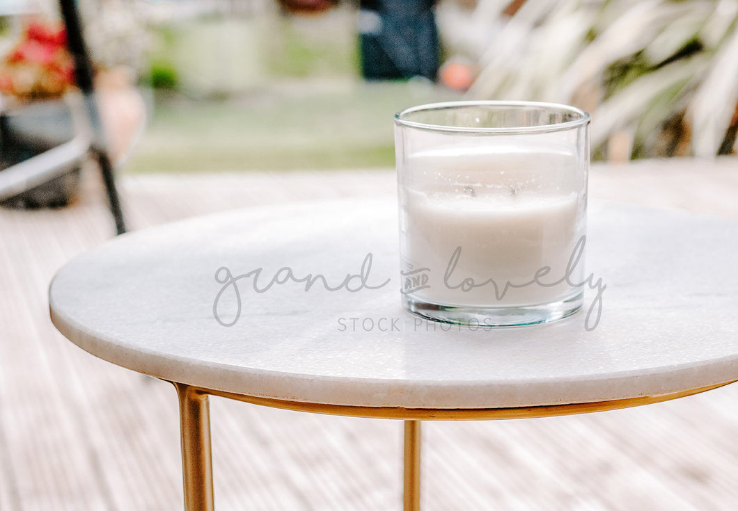 Minimal Marble Gold Table White Candle | Single Photo - Grand & Lovely Stock styled photography desktops lifestyle screens desktops stationary