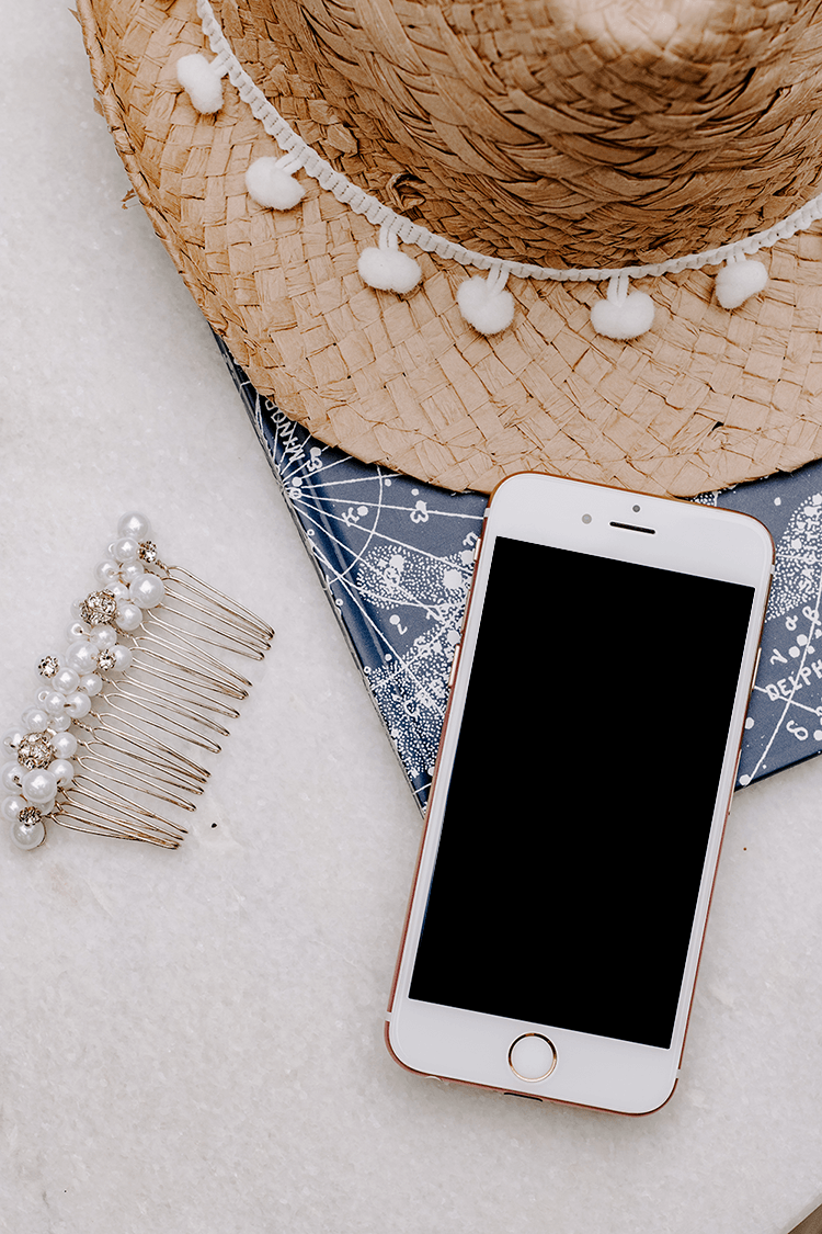 Iphone straw hat slide stock photo flatlay | Single Photo - Grand & Lovely Stock styled photography desktops lifestyle screens desktops stationary