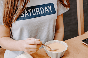 #Lifestyle I Downtime Girl wearing Saturday t-shirt I Single Photo - Grand & Lovely Stock styled photography desktops lifestyle screens desktops stationary
