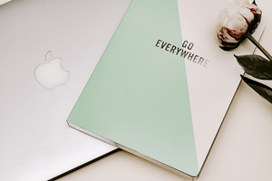#blogging macbook mint green cream notebook flatlay | peony nature  | Single Photo - Grand & Lovely Stock styled photography desktops lifestyle screens desktops stationary