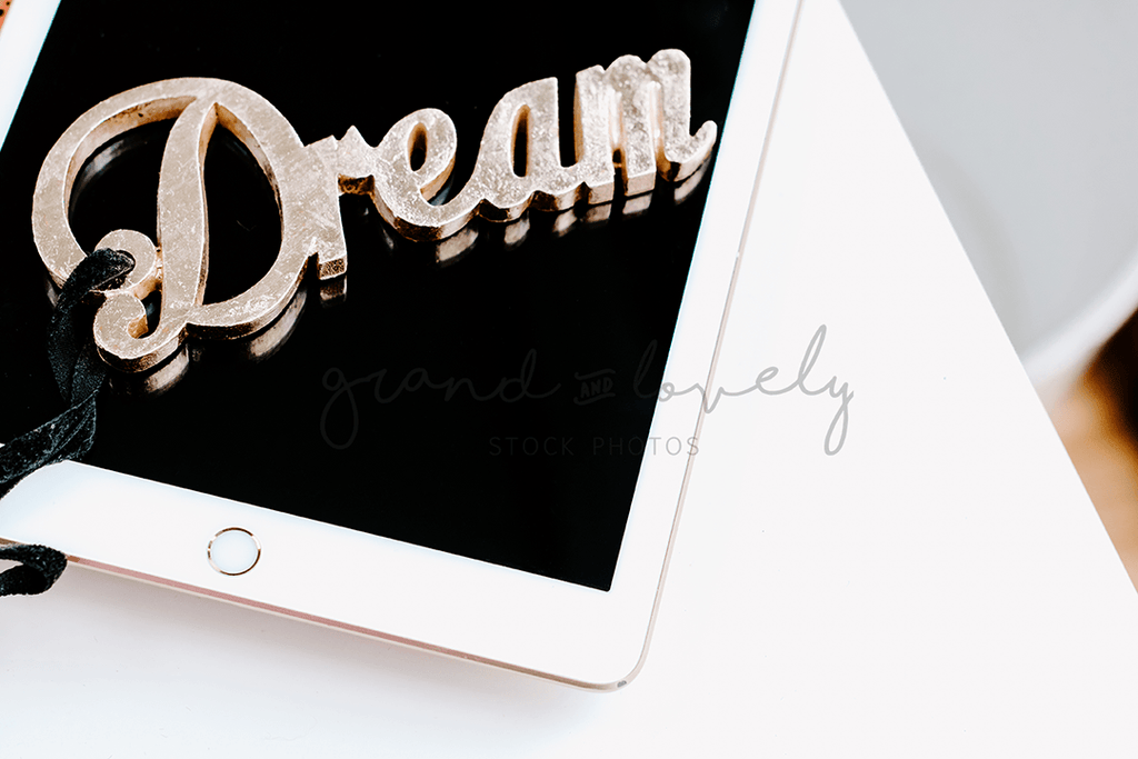 IPAD Dream Quote Mockup | Single Photo + bonus - Grand & Lovely Stock styled photography desktops lifestyle screens desktops stationary