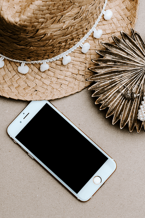 Iphone hat gold stock photo flatlay | Single Photo - Grand & Lovely Stock styled photography desktops lifestyle screens desktops stationary