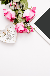 IPAD & flower flatlay styled stock image | white background - Grand & Lovely Stock styled photography desktops lifestyle screens desktops stationary