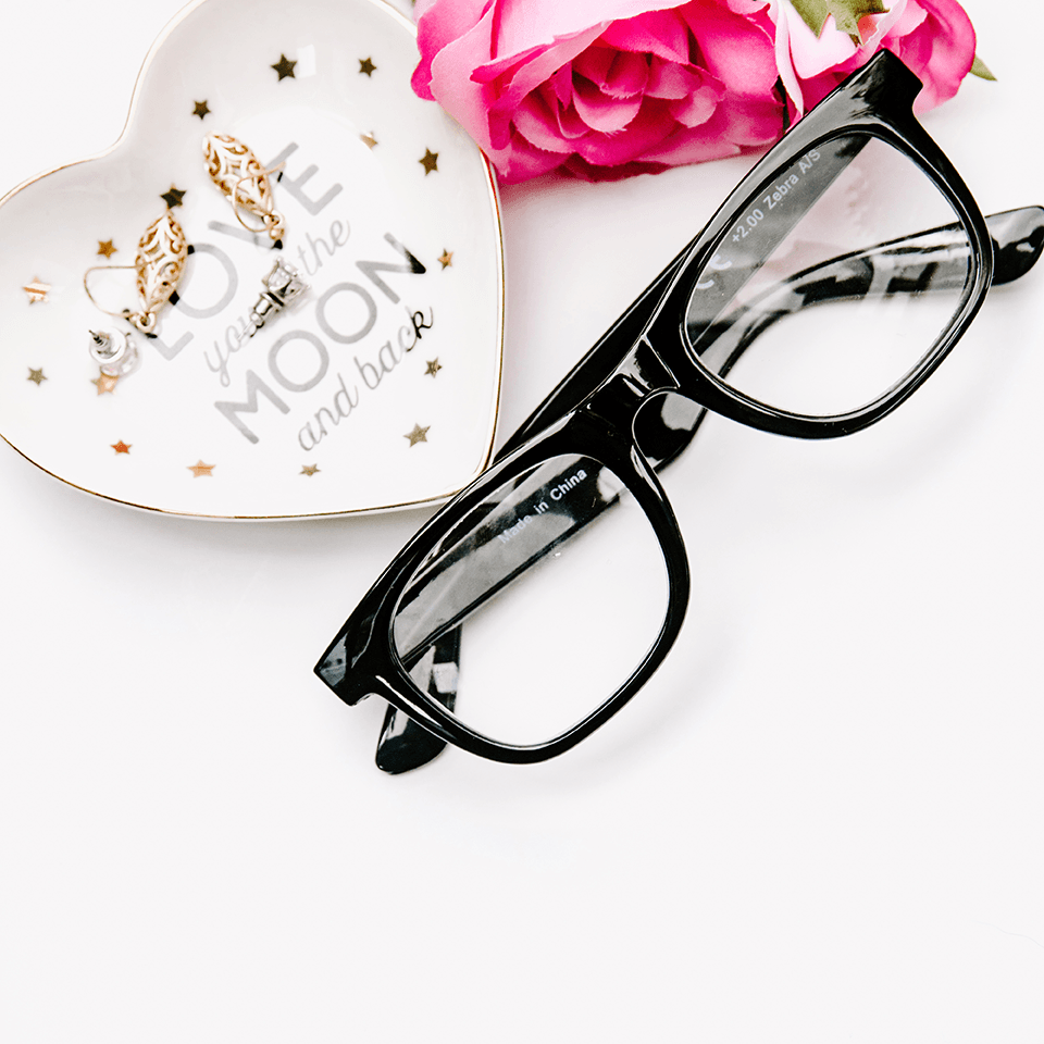 Reading Glasses flatlay styled stock image | white background - Grand & Lovely Stock styled photography desktops lifestyle screens desktops stationary