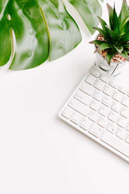 Styled Stock Photo I portrait White keyboard desk plant monstera - Grand & Lovely Stock styled photography desktops lifestyle screens desktops stationary