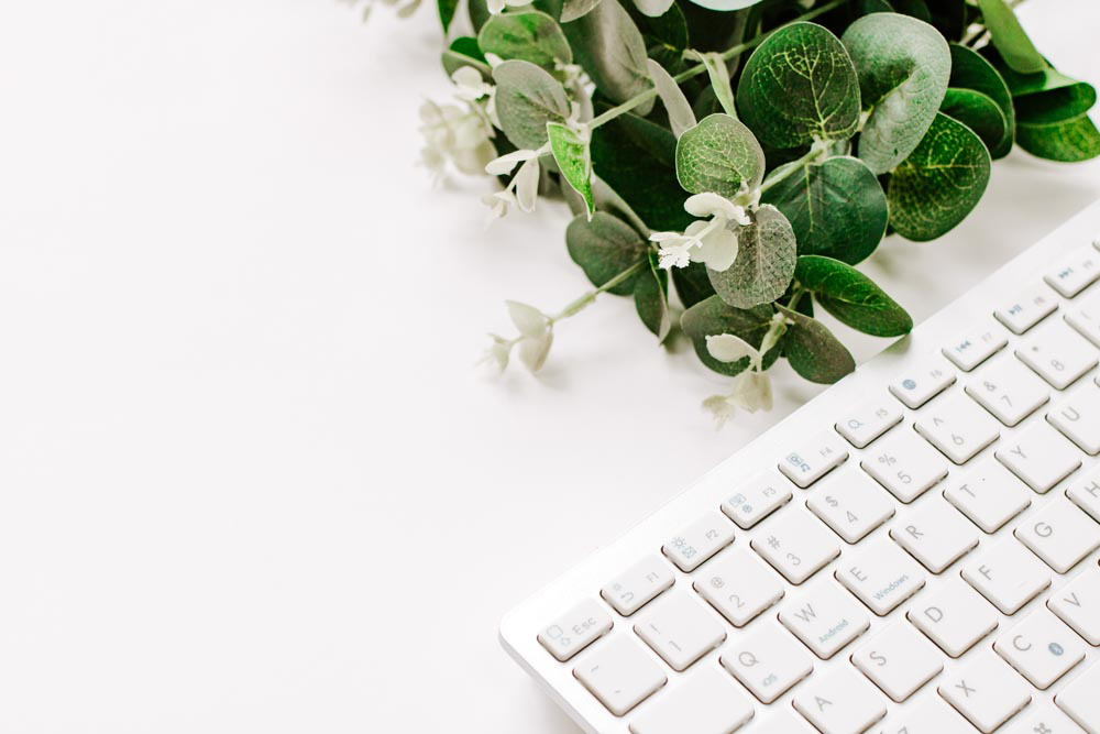 Styled Stock Photography I Minimal White keyboard eucalyptus - Grand & Lovely Stock styled photography desktops lifestyle screens desktops stationary