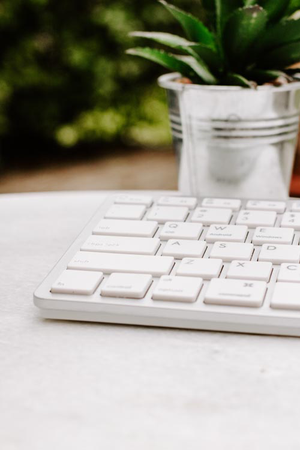 Styled Stock Photography I white desk plant silver keyboard - Grand & Lovely Stock styled photography desktops lifestyle screens desktops stationary