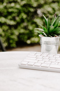 Styled Stock Photography I white keyboard garden desk portrait - Grand & Lovely Stock styled photography desktops lifestyle screens desktops stationary