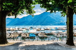 #Travel #Lifestyle | Boats moored Lake Lugano Switzerland Trees | Single Photo - Grand & Lovely Stock styled photography desktops lifestyle screens desktops stationary