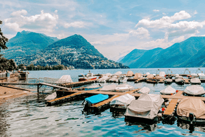 #Travel #Lifestyle | Boats moored Lake Lugano Switzerland Mountains | Single Photo - Grand & Lovely Stock styled photography desktops lifestyle screens desktops stationary