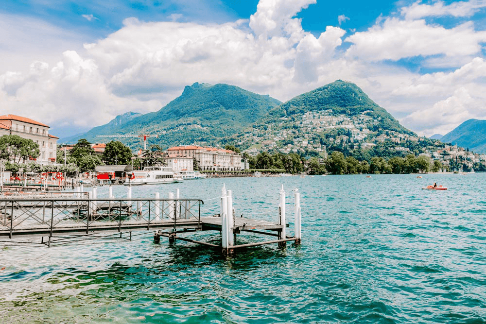 #Travel #Lifestyle | Scenic Landscape Lake Lugano Switzerland | Single Photo - Grand & Lovely Stock styled photography desktops lifestyle screens desktops stationary