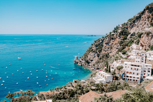 #Travel #Vacation #Tourism blogging I Amalfi Coast Positano | boats blue ocean coastline I Set of 3 photos - Grand & Lovely Stock styled photography desktops lifestyle screens desktops stationary