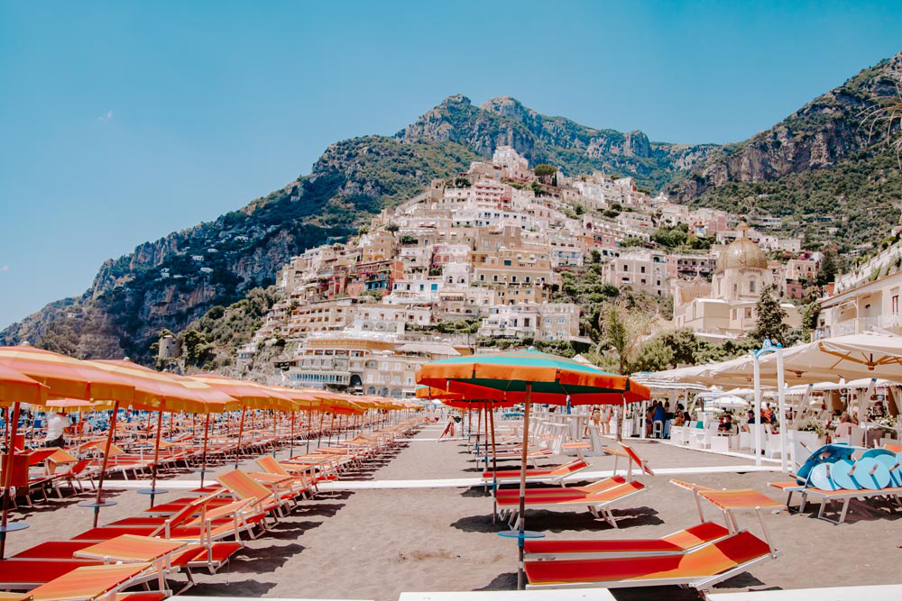 #Travel #Lifestyle #Summer I Beach Scene Cliffs of Positano | Colourful Sunbeds & Parasols I Set of 3 photos - Grand & Lovely Stock styled photography desktops lifestyle screens desktops stationary