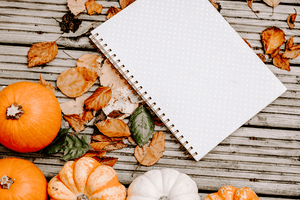 Styled Stock Photography I Autumn/Fall Collection - Flatlay notebook & leaves - Grand & Lovely Stock styled photography desktops lifestyle screens desktops stationary