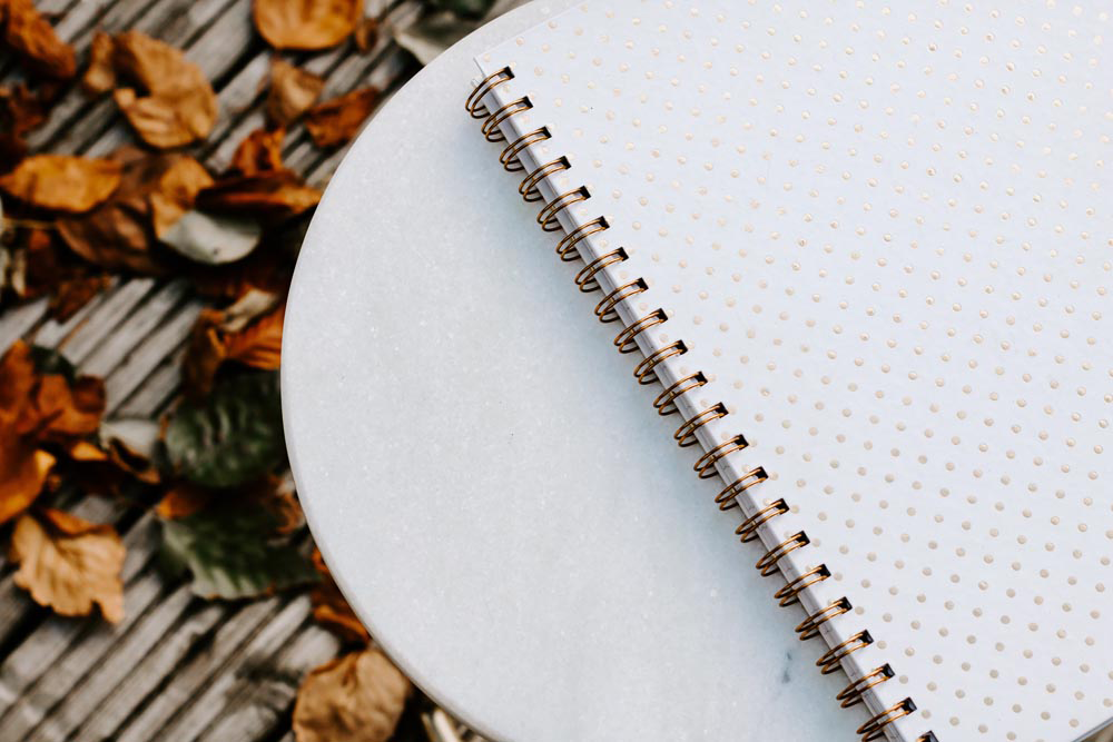 Styled Stock Photography I Autumn/Fall Collection - White notebook & leaves - Grand & Lovely Stock styled photography desktops lifestyle screens desktops stationary