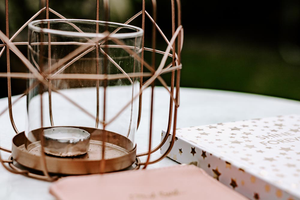 Lifestyle | Rose Gold metal candle holder | garden table | Single Photo - Grand & Lovely Stock styled photography desktops lifestyle screens desktops stationary