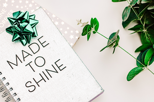 Minimal blogging styled stock photo | Made to shine notebook & eucalyptus - Grand & Lovely Stock styled photography desktops lifestyle screens desktops stationary