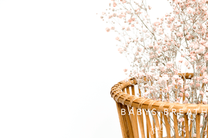 Premium Styled stock photo I Lifestyle Image | Wicker Basket & Peach Flowers | White background - Grand & Lovely Stock styled photography desktops lifestyle screens desktops stationary