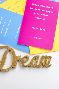 Styled Stock Photography | Gold DREAM quote white background | Blogging | portrait - Grand & Lovely Stock styled photography desktops lifestyle screens desktops stationary