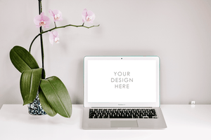 Desk & Plant Laptop Mackbook Mockup | muted white grey background | minimal lifestyle - Grand & Lovely Stock styled photography desktops lifestyle screens desktops stationary