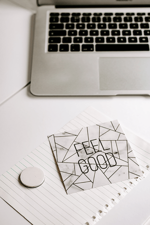 FREE styled stock photography I desk laptop white minimal feel good quote - Grand & Lovely Stock styled photography desktops lifestyle screens desktops stationary