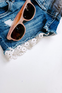 FREE Styled Stock Photo I Sunglasses Denim Shorts | Summer concept - Grand & Lovely Stock styled photography desktops lifestyle screens desktops stationary