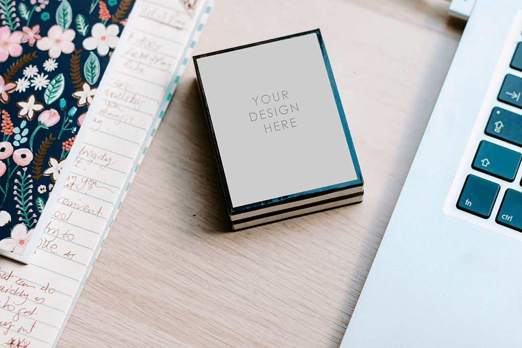 Mockup | simple desk setting cream black box | lifestyle - Grand & Lovely Stock styled photography desktops lifestyle screens desktops stationary