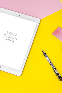 Yellow & Pink Desk / Stationary Mockup | blogging education niche - Grand & Lovely Stock styled photography desktops lifestyle screens desktops stationary