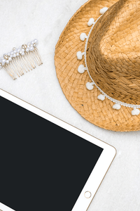 IPAD straw hat pearl slide stock photo flatlay | Single Photo - Grand & Lovely Stock styled photography desktops lifestyle screens desktops stationary
