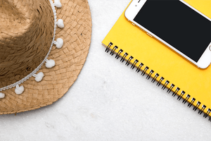 IPAD straw hat yellow spiral notebook stock photo | Single Photo - Grand & Lovely Stock styled photography desktops lifestyle screens desktops stationary
