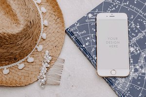 IPHONE Mockup summer theme | white background | feminine - Grand & Lovely Stock styled photography desktops lifestyle screens desktops stationary