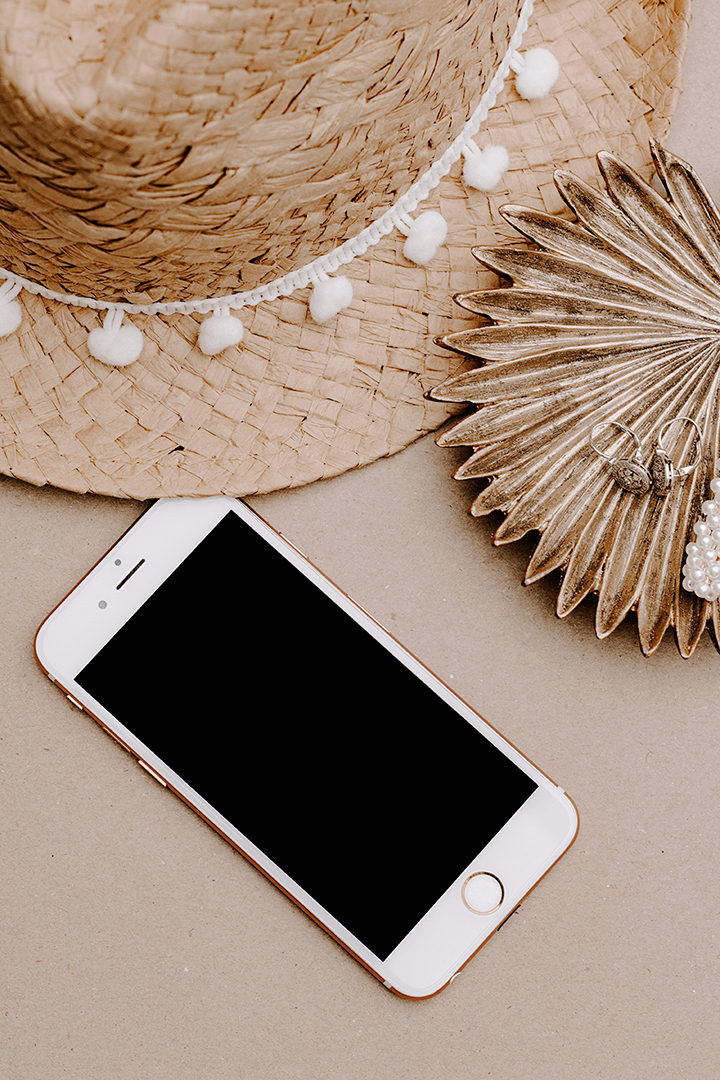 Minimal IPHONE Mockup | summer theme straw hat | blogging lifestyle | feminine - Grand & Lovely Stock styled photography desktops lifestyle screens desktops stationary