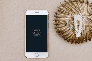 Styled Stock Photography | Gold/Taupe Minimal IPHONE Mockup |  feminine - Grand & Lovely Stock styled photography desktops lifestyle screens desktops stationary
