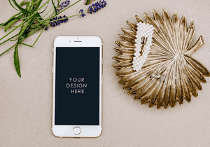 Simple IPHONE Mockup | Beige background lavender |  blogging lifestyle | feminine - Grand & Lovely Stock styled photography desktops lifestyle screens desktops stationary