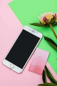 #flatlay | green pink background Iphone stock photo flower | Single Photo - Grand & Lovely Stock styled photography desktops lifestyle screens desktops stationary