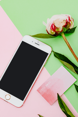 Pink & Green iphone smartphone Mockup Peony | feminine blogging - Grand & Lovely Stock styled photography desktops lifestyle screens desktops stationary