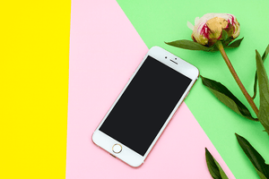 Vibrant Yellow Pink & Green IPHONE Mockup Feminine | blogging education - Grand & Lovely Stock styled photography desktops lifestyle screens desktops stationary
