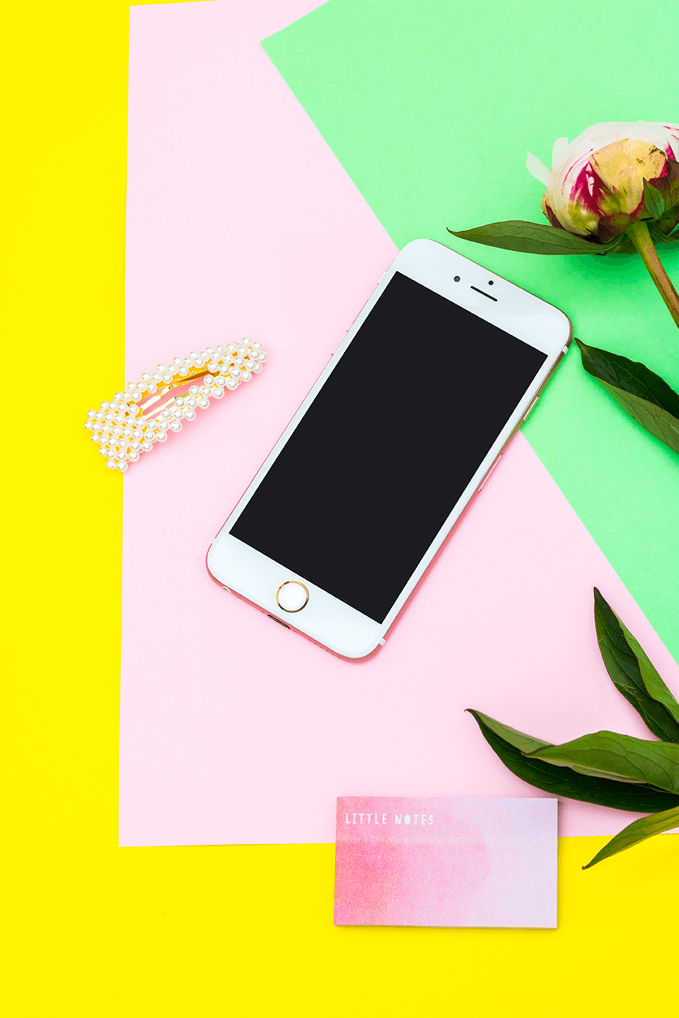 Styled Stock Photography | Colourful Yellow Pink & Green IPHONE Mockup Desk | blogging - Grand & Lovely Stock styled photography desktops lifestyle screens desktops stationary