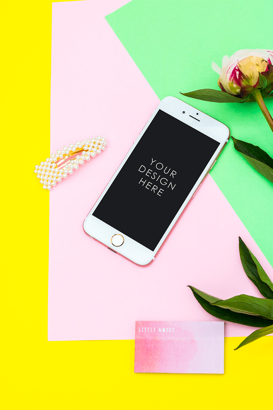 Colourful Yellow Pink & Green IPHONE Mockup Desk | blogging education - Grand & Lovely Stock styled photography desktops lifestyle screens desktops stationary