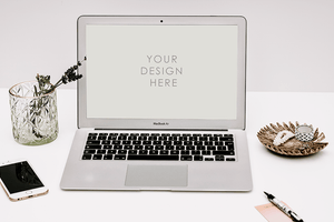 Laptop Mackbook Mockup | muted white grey background | iphone | lifestyle blogging - Grand & Lovely Stock styled photography desktops lifestyle screens desktops stationary