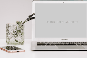 Laptop Mackbook Mockup | muted white grey background | iphone green glass | lifestyle desk - Grand & Lovely Stock styled photography desktops lifestyle screens desktops stationary