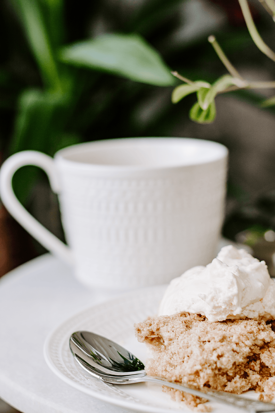 Styled Stock Photography | #lifestyle food blogger | White Cup of Tea Apple Cake & Cream | Single Photo - Grand & Lovely Stock styled photography desktops lifestyle screens desktops stationary