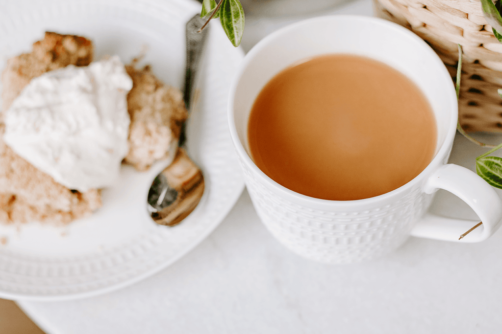 Styled Stock Photography | #lifestyle blogging | White Cup of Tea cake crumble & cream | Set of 2 Images - Grand & Lovely Stock styled photography desktops lifestyle screens desktops stationary