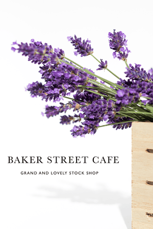 Styled Stock Photography | #Flowers #blog I Bunch of Lavender in wooden slat box - Grand & Lovely Stock styled photography desktops lifestyle screens desktops stationary