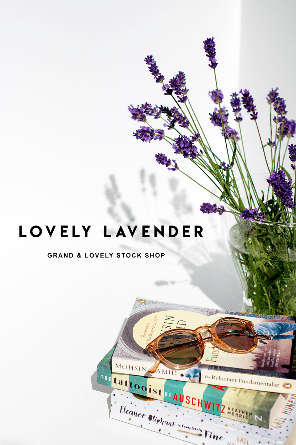 Styled Stock Photography | #Lifestyle #blog I Sunglasses Books Vase of Lavender | summer reading concept - Grand & Lovely Stock styled photography desktops lifestyle screens desktops stationary