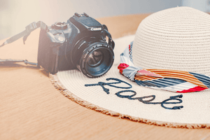 Styled stock photo | Summer Concept I Camera Sunhat with Sunflare - Grand & Lovely Stock styled photography desktops lifestyle screens desktops stationary