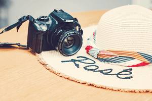 Styled stock photo | Summer Concept I Vintage Camera Sunhat - Grand & Lovely Stock styled photography desktops lifestyle screens desktops stationary