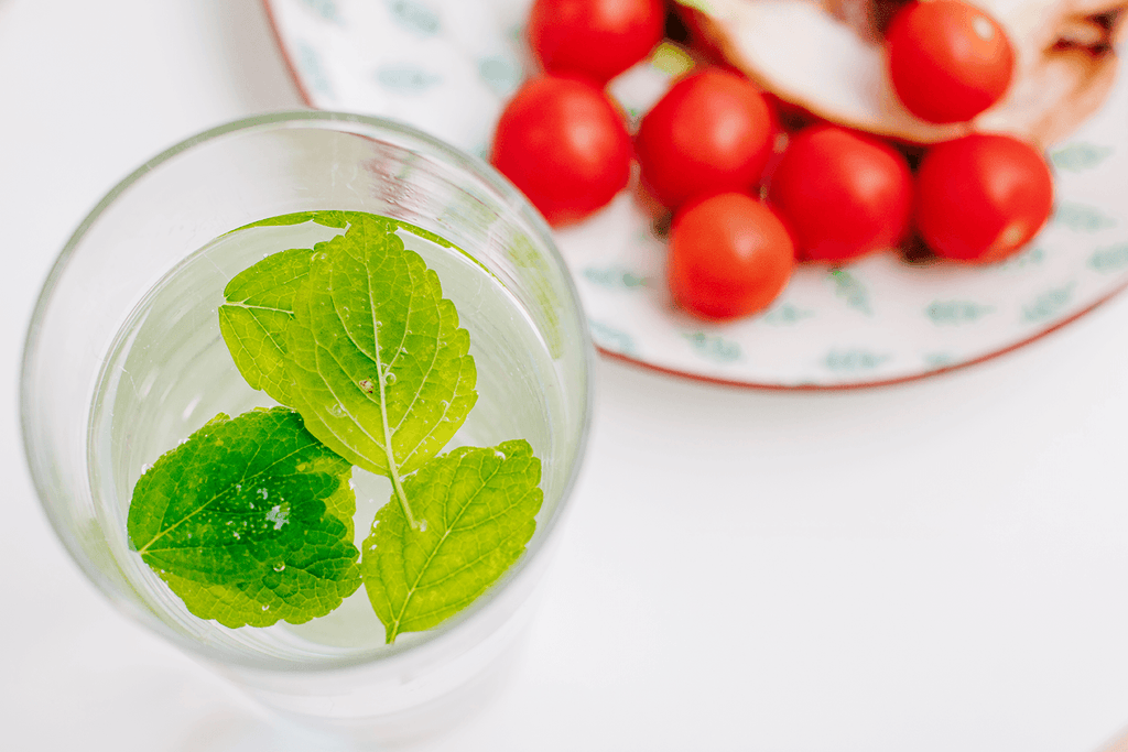 Healthy Lifestyle | Glass of Water with lemon balm leaves | Tomato salad | Set of 2 Images - Grand & Lovely Stock styled photography desktops lifestyle screens desktops stationary