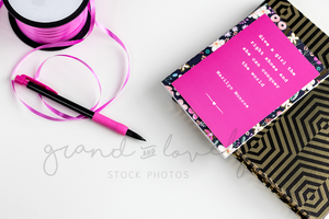 Pink & Gold String Pen Stationary Mockup | Single Photo - Grand & Lovely Stock styled photography desktops lifestyle screens desktops stationary
